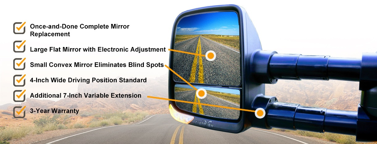 Clearview towing mirrors features infographic
