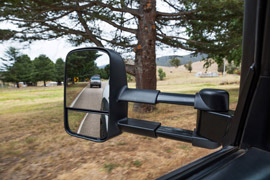 extended Clearview towing mirror on the road