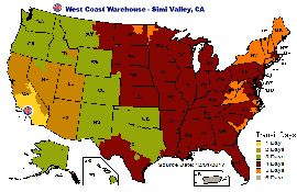 UPS delivery map from Simi Valley CA warehouse